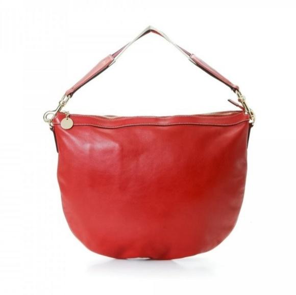 Gucci Handbags - Gucci Web Red Leather Shoulder Hobo Bag